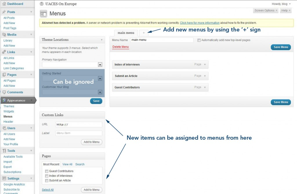 Wordpress menus page